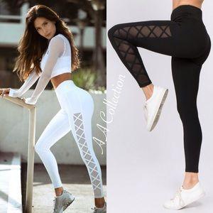 6af0ecfa6 Pants - workout leggings mesh sheer yoga active wear Black